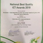 Mr. Dulan Dias won the silver award for for the Tertiary Student Projects (Technology) Category at NBQSA 2018 [Certificate]
