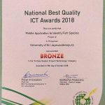 Mr. Priyankan Kirupaharan won the bronze award for for the Tertiary Student Projects (Technology) Category at NBQSA 2018 [Certificate]